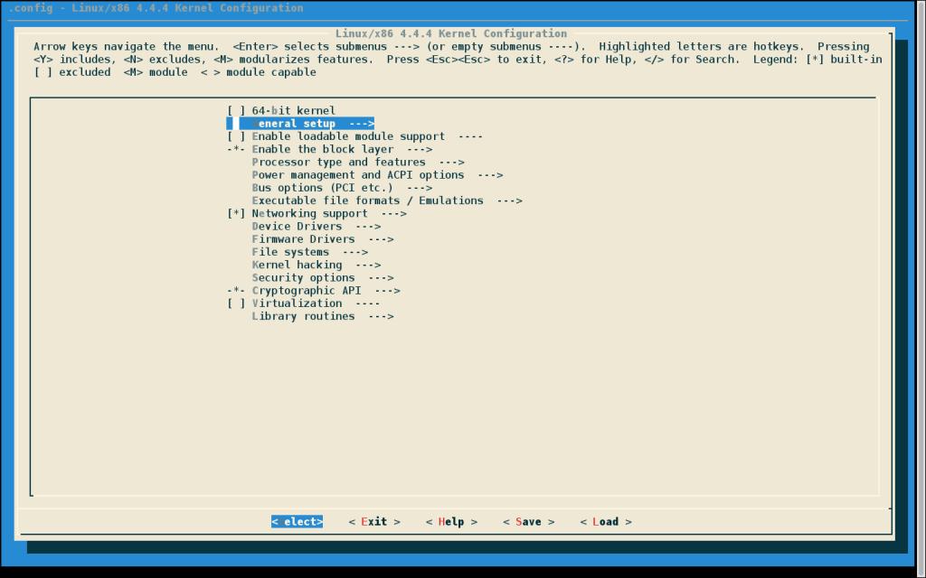Конфигурация ядра Linux с menuconfig