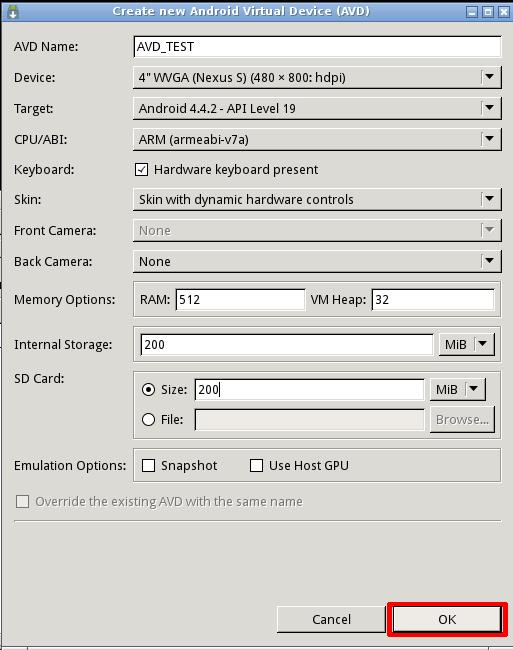 Создание AVD в Android SDK