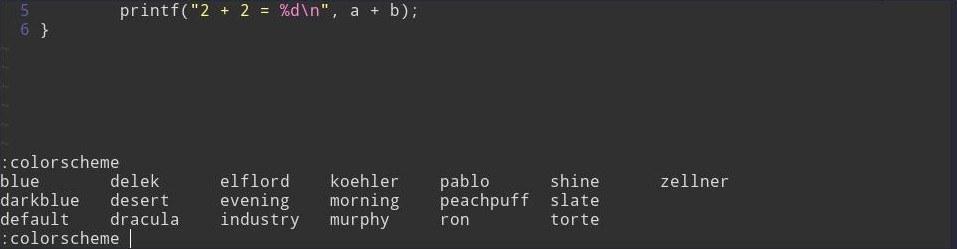 Список цветовых схем в Vim