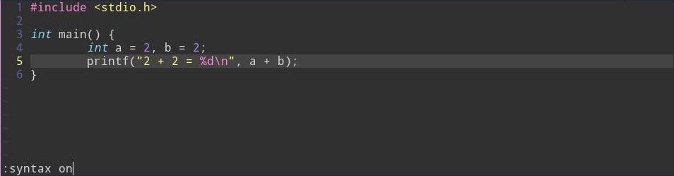 Подсветка синтаксиса в Vim