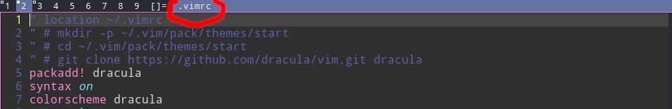 имя файла в заголовке окна Vim