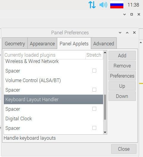 Апплет раскладки клавиатуры в Raspberry Pi OS