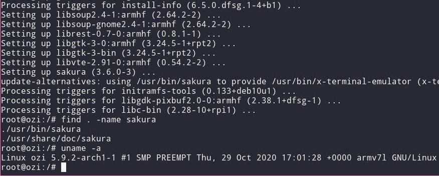 Установка sakura в Raspberry Pi OS, используя QEMU + chroot.