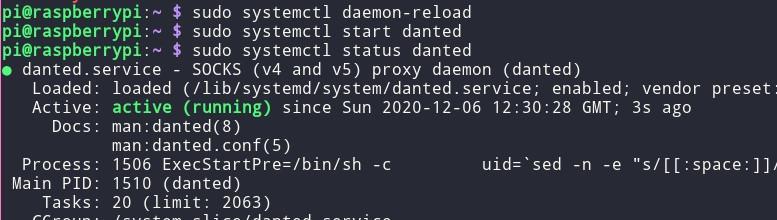 Запуск сервера Dante на Raspberry Pi OS без ошибка