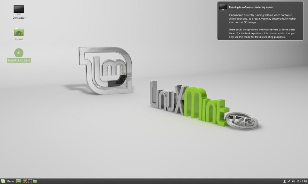 Рабочий стол live-cd Linux Mint
