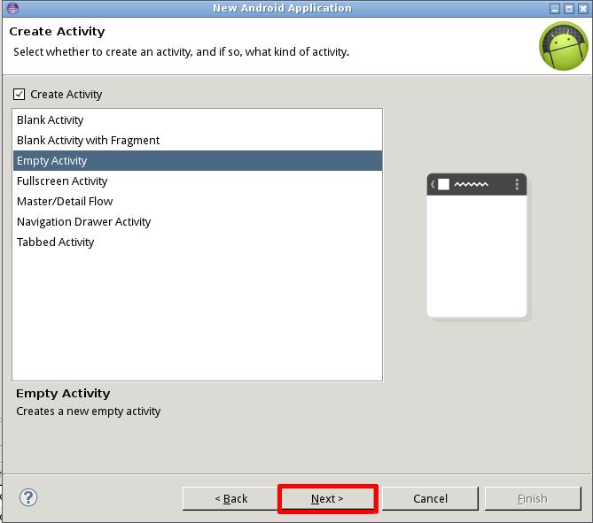Выбор шаблона проекта для Android в Eclipse